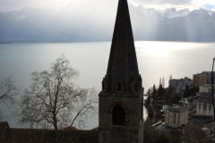 Le clocher du temple de Montreux