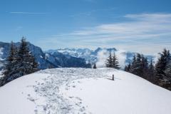 Un sommet très enneigé (indicateur sous la neige)